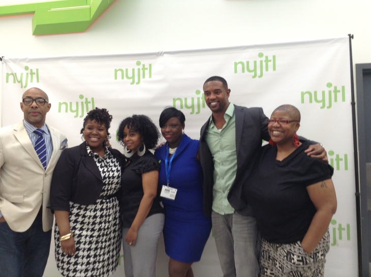 From left to right: Alonzo Brown, Alicia Appleton, Fila Antwine, Tawana Butler of NYJTL, Otis Winston and Aiesha Turman